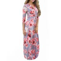 Best Casual 3 4 Sleeves Summer Floral Maxi Dresses , Petite Length Maxi Dresses For Weddings wholesale