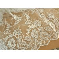 Best Off White Wedding Dress Tulle Lace Fabric , Embroidery Beaded Ivory Bridal Lace Fabric wholesale
