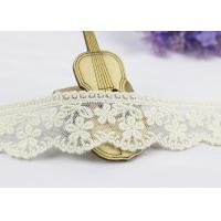 Best 3.5 Width White Cotton Lace Trim By The Yard,  Scalloped Floral Mesh Lace Ribbon wholesale