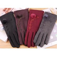Best Wine Red Fleece Touchscreen Winter Gloves With Super Soft Lining Keeping Warm wholesale