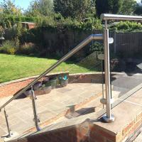 Best 2'' Pipe Handrail Balcony / Terrace Stainless Steel Glass Railing Designs wholesale
