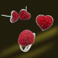 Best Red Crystal Heart Earring Ring Pendant Jewelry Set wholesale