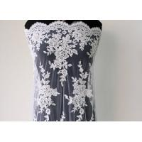 Best Embroidery Pearl Floral Corded Lace Fabric , White Bridal Lace Fabric With Scalloped Edge wholesale