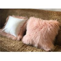 Best Custom Made 100% Long hair Mongolian lamb fur pillow 45x45cm dyed colors free samples wholesale