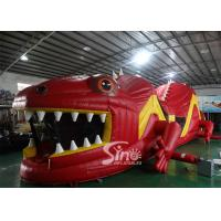 Best 53ft Giant Outdoor Inflatable Red Lizard Obstacle Course For Kids Party Time Fun wholesale