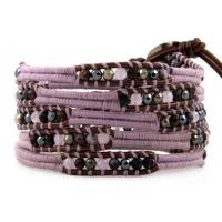 Cheap Beaded Handmade Jewelry Five Layer Amethyst Leather Bangles 82cm With Stone for sale