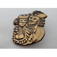 Best 3D Zinc Alloy, Aluminum, Stainless Steel Lapel Pins / Soft Enamel Pin with Rhinestone, Antique Gold Plated wholesale