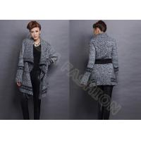 China Long Sleeve Wool Womens Chunky Sweaters Coat With Belt Cowl Neck , xs Sweatshirts For Women on sale