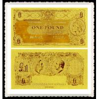 Best Australia Gold Banknote One Old AUD Pure 24K Gold Leaf Plated For Collection Gifts wholesale