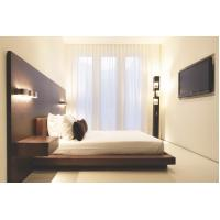 Best Hotel Furniture Wood panel cleats to wall Headboard with attached Upholstered headboard and two floating nightstands wholesale