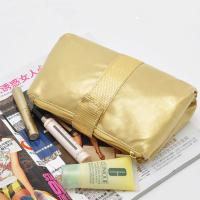 Best Portable Toiletry PU Leather Folding Cosmetic Bag  Golden Color For Travel wholesale