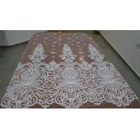Best Embroidered Guipure Beaded Lace Fabric Polyester On Nylon Mesh With Flower wholesale