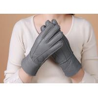 Best Real Fur Lined Grey Warmest Sheepskin Gloves Smooth Surface With Finger wholesale
