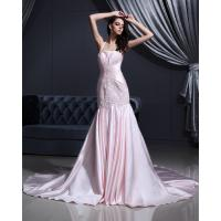 Best Pink Satin dropped waist Halter Neck Wedding Dresses with chapel train wholesale
