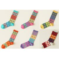 Best Cartoon Colorful Knitted Cotton / Acrylics Diamond Jacquard Ladies Crew Socks For Spring wholesale