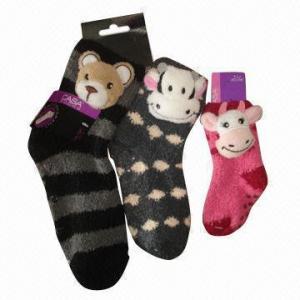 Best Fashionable Anti-slip Feather Yarn Socks with Animal Head Design wholesale