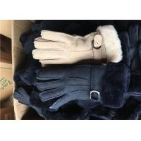 Cheap Double Face Leather Mittens Sheepskin Lined , Windproof Sheepskin Driving Gloves for sale