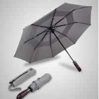 Double Canopy Layer Automatic Open And Close Compact Umbrella Vented Grey Color