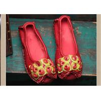 Best Red Fancy Slippers womens leather loafers With Lovely flowers , slip on loafers wholesale