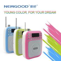 Best NEWGOOD cheap LED screen pink green USB/TF/SD Card Audio Player Speaker with voice amplifer,voice recorder and FM radio wholesale