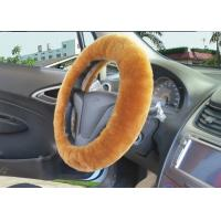 Brown Super Fuzzy Steering Wheel Cover , Real Soft Fur Car Accessories Wheel Covers