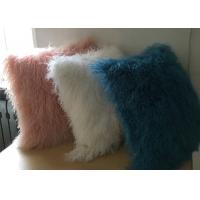 Best White Fuzzy Decorative Pillow , Extra Long Curly Mongolian Lambswool Cushion  wholesale