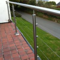 Cheap DIY Floor Mounted Stainless Steel Cable Rails / Wire Balustrade for sale