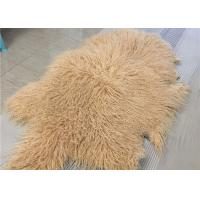 Best Purple Long Hairs Mongolian Sheepskin Rug Windproof For Making Winter Garment wholesale