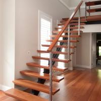 Cheap Modern Style Indoor Single Stringer Straight Steel Solid Wood Staircase for sale