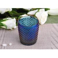 Best Machine Made navy blue glass cylinder candle holder Embossed Cross Line wholesale