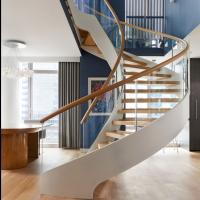 Best Modern Wooden Steel Curved Staircase Design wholesale