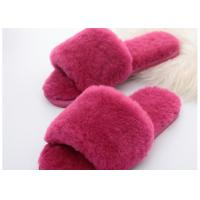 Best Wool Lining Womens Fluffy Slippers , Pink Warm Fuzzy Slippers Rubber Sole wholesale