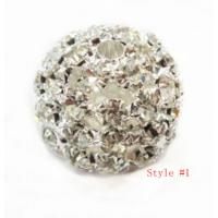 Best OEM Alloy Silver Crystal Pave Ball Beads Necklace / Bracelets Jewelry Making wholesale