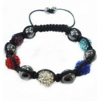 Best OEM Custom Made Crystal Pave Ball Shamballa Beaded Bracelet 10mm wholesale