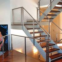 Best 304 Polished Stainless Steel or Black Cast iron Hidden Double Stringers Support Straight Staircase wholesale