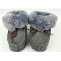 Best Natural Super Soft Fur Double Face Australian Baby Sheepskin Boots Grey / Pink wholesale