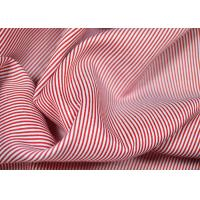 Best Soft Touch Cotton Yarn Dyed Fabric , Smooth Red And White Striped Material wholesale