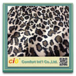 Animal Printed Realistic Faux fur Fabric For Scarf Garment / Coat , Soft Long Pile Fake Fur Material