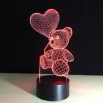 Best Hot Sale 3D LED Heart Bear Kids Night Light for Baby Room  night light wholesale