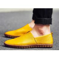 Buy cheap Small V Shaped Cut Vamp Loafer Slip On Shoes Yellow Brown Color Normal Round Toe from wholesalers