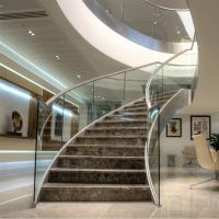 Cheap House Used Woodern Tread Curved Staircases with Railing and Handrail for sale