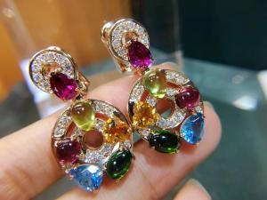 Best Astrale earrings 18k yellow gold set with blue topaz, green tourmaline, peridot, citrine and red garnet set with diamond wholesale
