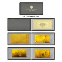 Best Album polymer 24Karat gold foil banknote book set with leather case wholesale