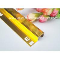 Durable Non Slip Aluminum Stair Nosing For Carpet Anodized Shiny Gold Color