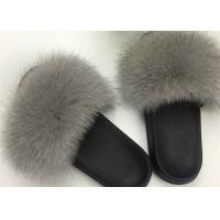 Cheap Ladies Genuine Luxurious Fox Fur Slippers Anti Slip Comfortable For Autumn for sale