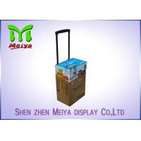 Cheap Recyclable Corrugated Exhibition Trolley / Advertising Cardboard Box With Wheels for sale