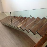 Cheap Customized Single Stringer Wood Treads Floating Stairs / Straight Staircase / for sale