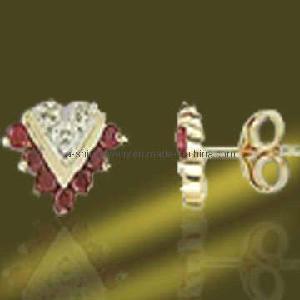 Best 925 Sterling Silver Jewellery Ruby Cubic Zirconia Earring (ESH3366) wholesale