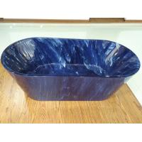 Best 1700mm length ovel acrylic blue marble color freestanding bath tub with center drainer wholesale