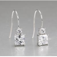 China Rhodium Plated Princess Cut Clear Cubic Zirconia Women's Sterling Silver Ear Studs JSER006 on sale